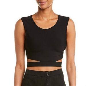 BCBG MAXAZRIA black crop top with cutout waist